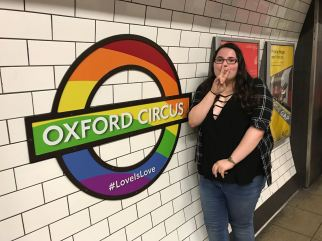 Oxford Circus tube sign rainbow! and Rose!