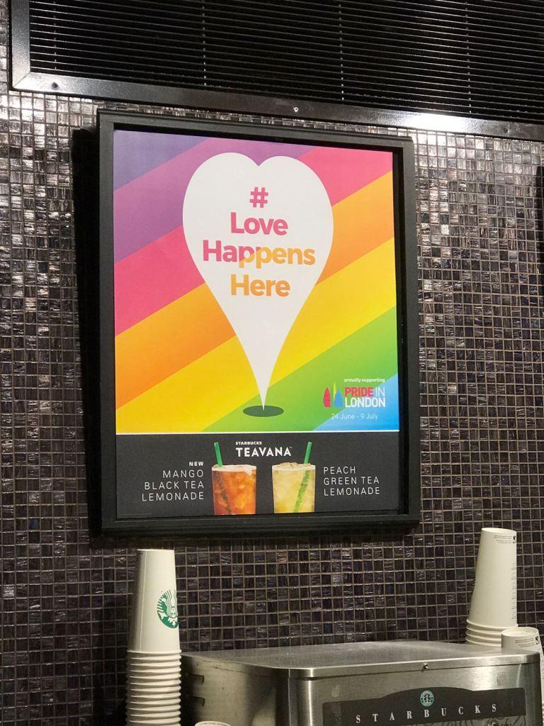 Pride sign in Starbucks!