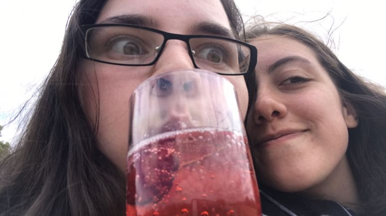 Rose and me with cider in park!