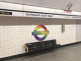 Tottenham Court Road rainbow tube sign!